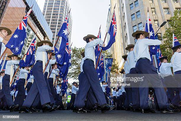 Royal Australian Airforce Cadets march during the ANZAC day parade on April 25 2016 in Sydney Australia Australians commemorating 101 years since the...