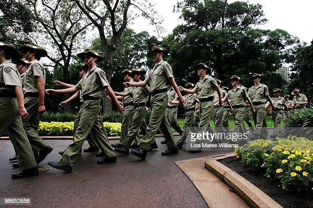 Royal Australian Army Cadets march through Hyde Park following the ANZAC Day Parade in the Sydney CBD on April 25 2010 in Sydney Australia Veterans...