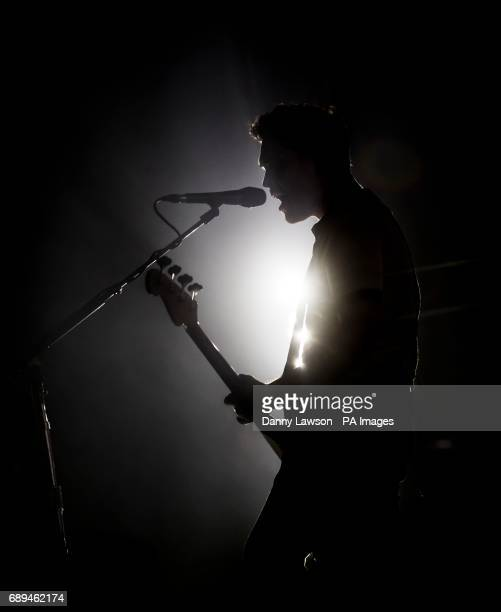 Royal Blood lead vocalist and bass guitarist Mike Kerr performs during the second day of BBC Radio 1's Big Weekend at Burton Constable Hall Burton...