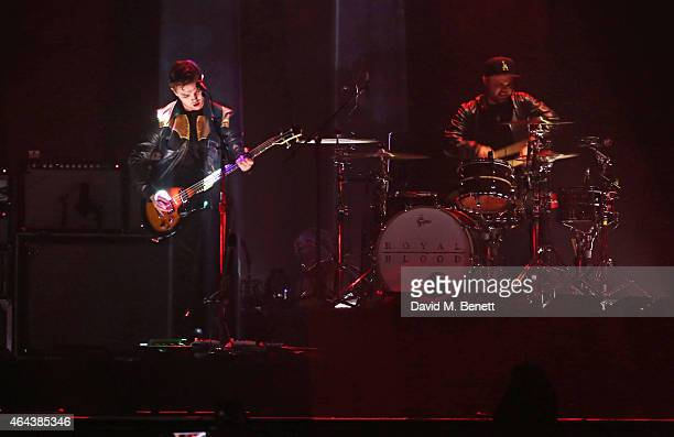 Royal Blood performs at the BRIT Awards 2015 at The O2 Arena on February 25 2015 in London England