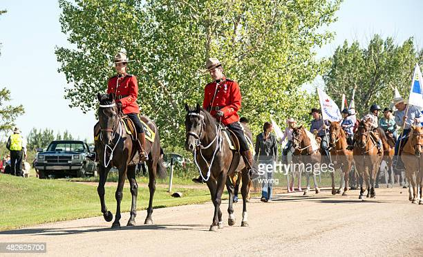 Royal Canadian Mounted Police leading a parade