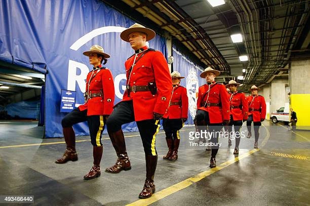 Royal Canadian Mounted Police practice before the National Anthems to the start of the game between the Kansas City Royals and the Toronto Blue Jays...