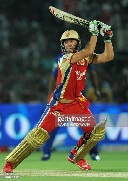 Royal Challengers Bangalore batsman AB DeVilliers plays a shot during the IPL Twenty20 cricket match between Rajasthan Royals and Royal Challengers...