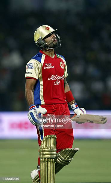 Royal Challengers Bangalore batsman Virat Kohli disappointed after getting out during the IPL 5 T20 cricket match played between Rajasthan Royals and...