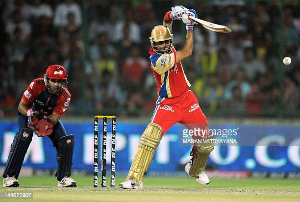 Royal Challengers Bangalore batsman Virat Kohli plays a shot during the IPL Twenty20 cricket match between the Delhi Daredevils and Royal Challengers...