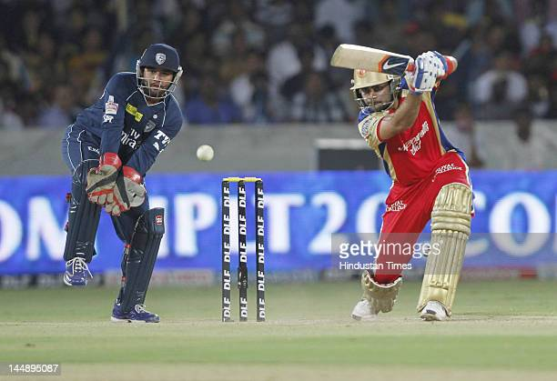 Royal Challengers Bangalore batsman Virat Kohli plays a shot during IPL 5 T20 match played between Deccan Chargers and Royal Challengers Bangalore at...