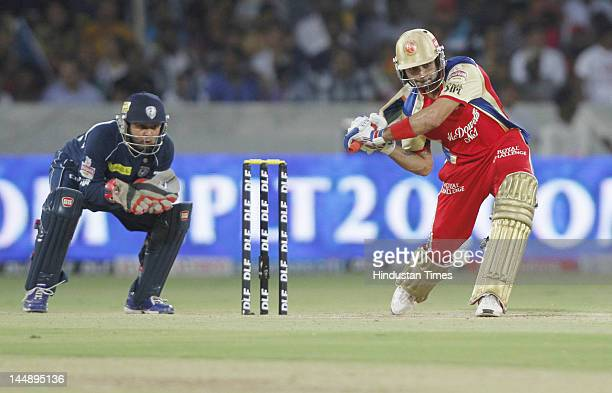Royal Challengers Bangalore batsman Virat Kohli plays a shot during IPL 5 T20 match played between Deccan Chargers and Royal Challengers Bangalore at...