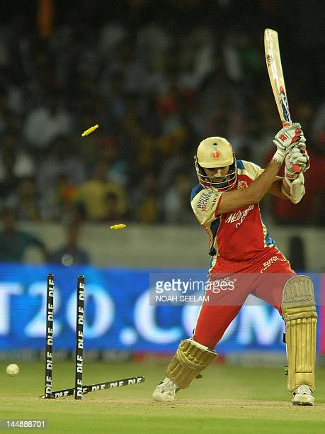 Royal Challengers Bangalore batsman Zaheer Khan is bowled by Deccan Chargers bowler Dale Steyn during the IPL Twenty20 cricket match between Deccan...