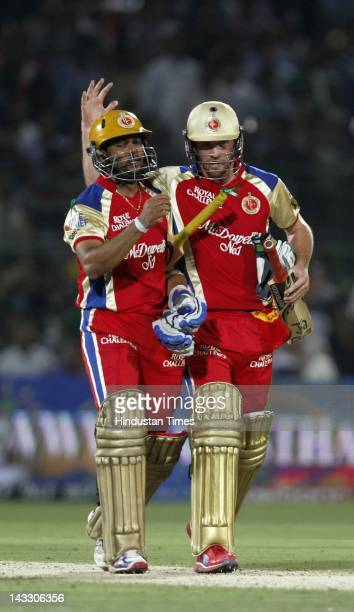 Royal Challengers Bangalore batsmen AB de Villiers and Tilakaratne Dilshan during the IPL 5 T20 cricket match played between Rajasthan Royals and...