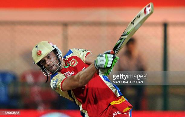 Royal Challengers Bangalore batsmen AB DeVilliers plays a shot during the IPL Twenty20 cricket match against Deccan Chargers at the M Chinnaswamy...