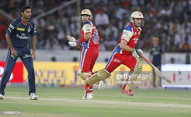 Royal Challengers Bangalore batsmen Abrahan Benjamin de Villiers and Virat Kohli taking run during IPL 5 T20 match played between Deccan Chargers and...