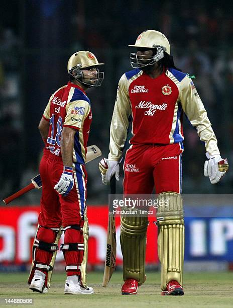 Royal Challengers Bangalore batsmen Chris Gayle and Virat Kohli in action against Delhi Daredevils in IPL T20 match played at Ferozshah Kotla Ground...