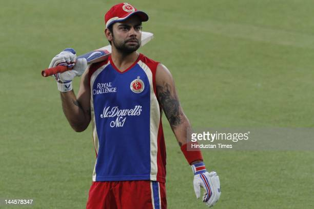 Royal Challengers Bangalore player Virat Kohli during the practice session at Kotla Ground on May 16 2012 in New Delhi India They will face Delhi...