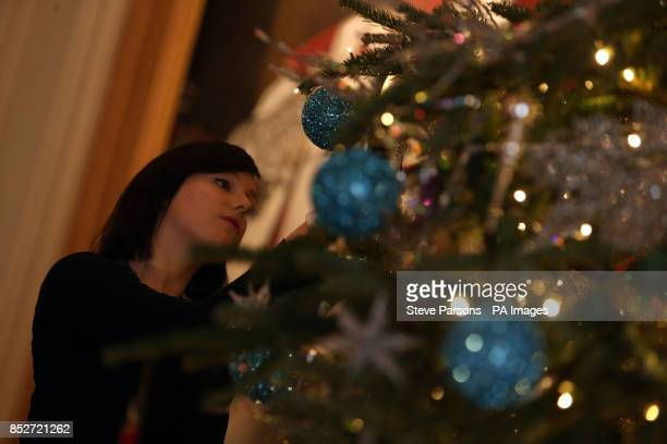 Royal Collection exhibition administrator Roxy Hackett applies the finishing touches to a sixmetre Nordman Fir Christmas tree in the St George's Hall...