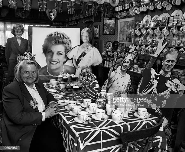 Royal collector Margaret Tyler surrounded by some of her 10000 items celebrating the British Royal Family Mrs Tyler's Wembley home in North London is...