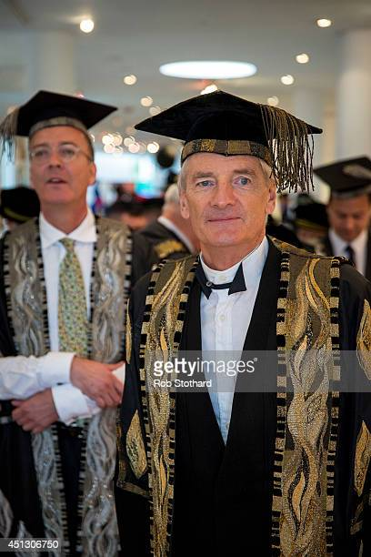 Royal College of Art Provost Sir James Dyson leads Honorary Doctorate recipients at the Royal College of Art convocation ceremony at Royal Albert...