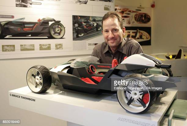 Royal College of Art student Bruce Thomson with his hybrid car design called Deus Ex Machina at the Royal College of Art's students degree show The...