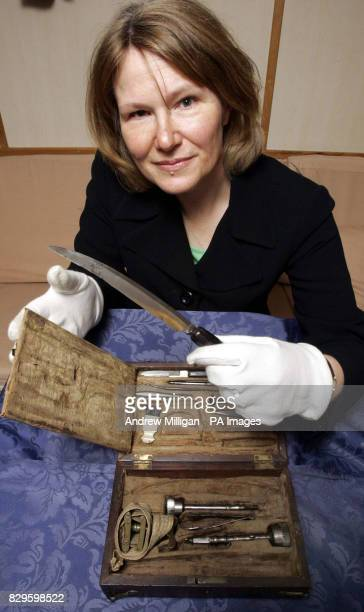 Royal College of physicians and surgeons in Glasgow curator Carol Parry holds one of the surgical instruments used by William Beatty who tended to...