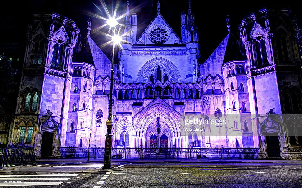 Royal Courts of Justice at night