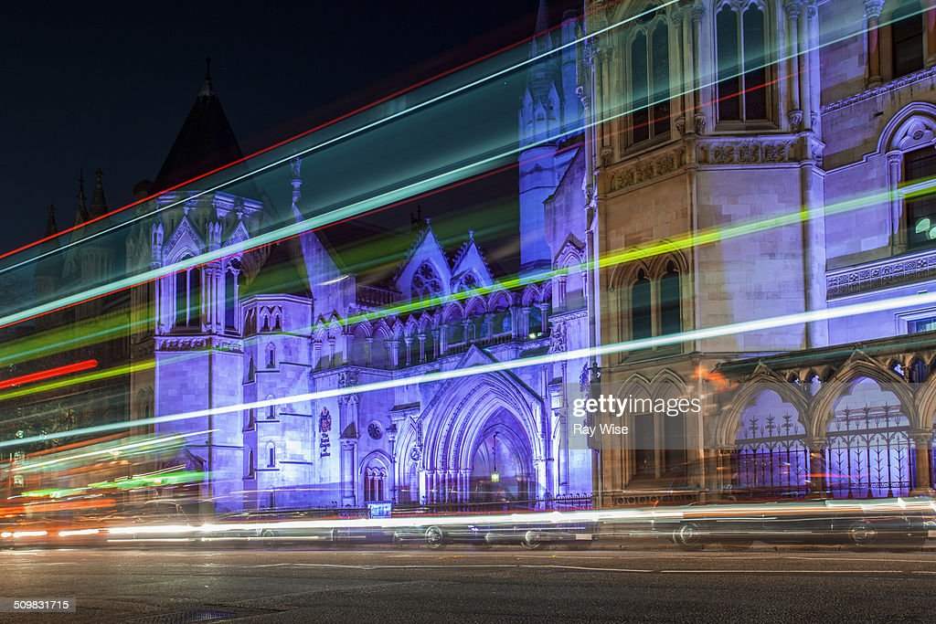 Royal Courts of Justice light trails