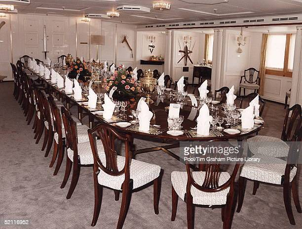 Royal Dining Room Set For Dinner On Board The Royal Yacht Britanniacirca 1990s