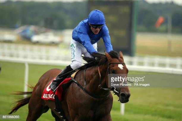 Royal Empire ridden by Kieren Fallon wins the BETFRED TV Geoffrey Freer Stakes during the Ladies Day with Meat Loaf Live at Newbury Racecourse Newbury