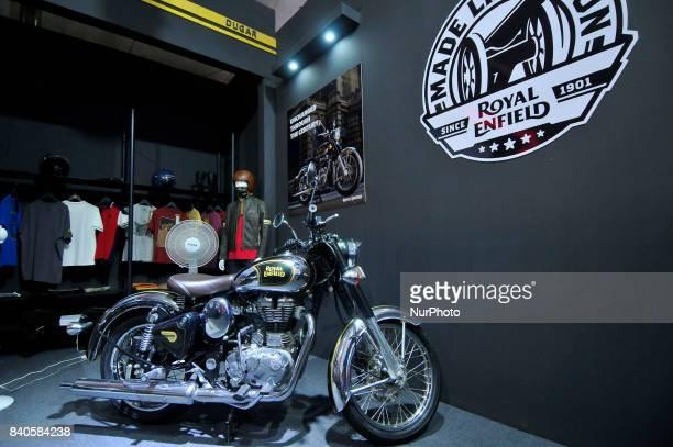 Royal Enfield Classic 500 Bike is on display at the 12th Annual Nepals biggest NADA Auto at Bhikuti Mandap Kathmandu Nepal on Tuesday August 29 2017