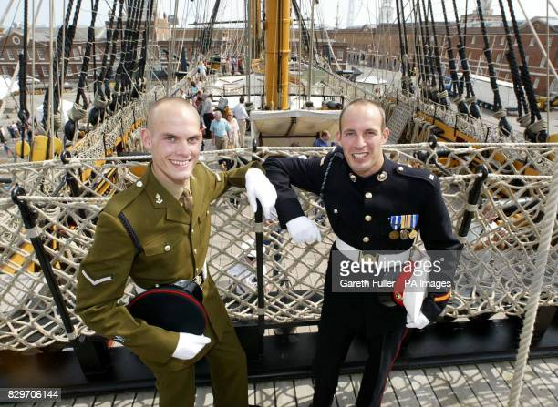 Royal Engineer Brett Nelson with brother Royal Marine Craig Nelson and direct descendants of Lord Nelson onboard HMS Victory