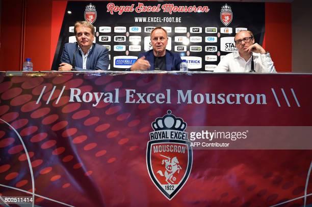 Royal Excel Mouscron football club's general director Paul Allaerts sport director German Jurgen Rober and press officer Nicolas Cornu speak during a...