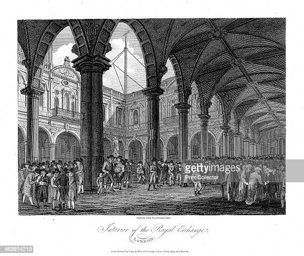 Royal Exchange London late 18th century This was the second Royal Exchange built after Gresham's original building destroyed in Fire of London in 1666