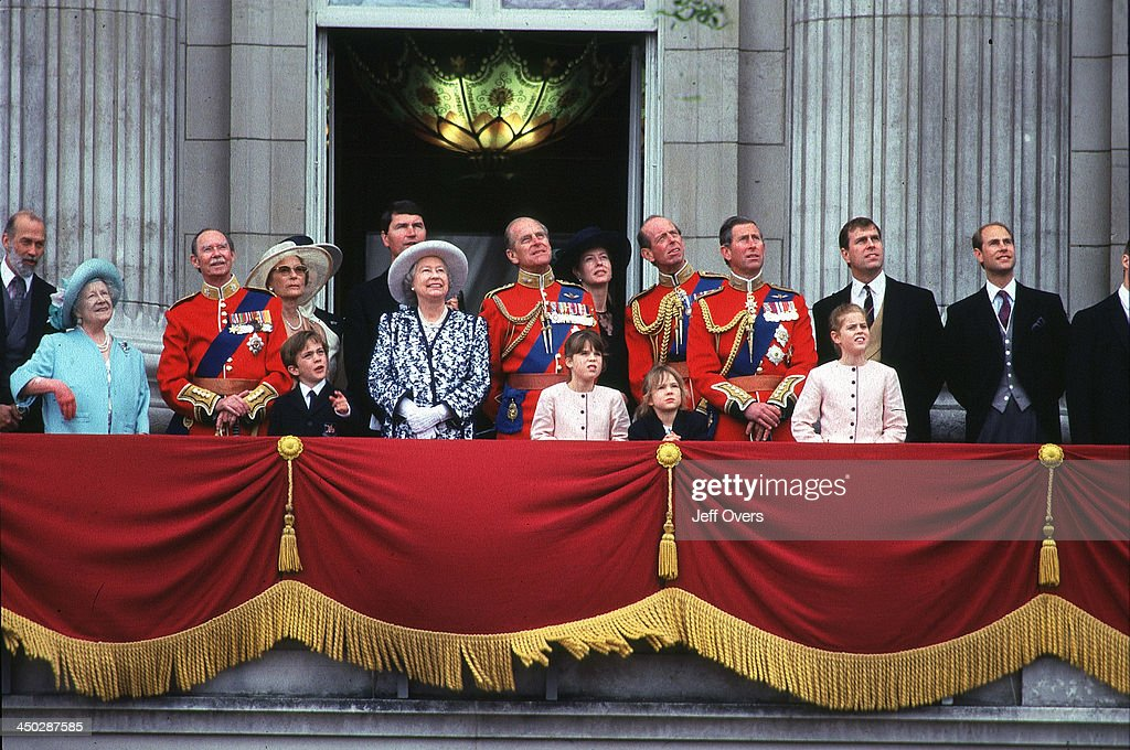 Royal Family on the Balcony at Buckingham Palace during Trooping the Colour ceremony in London. Queen Elizabeth II - Prince Philip - Charles, Andrew, Edward, Prince Queen Mother.