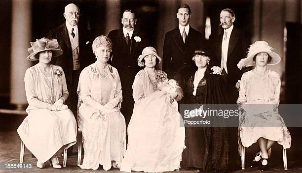 Royal family portrait on the occasion of the christening of Princess Elizabeth Alexandra Mary later Queen Elizabeth II in the private chapel of...