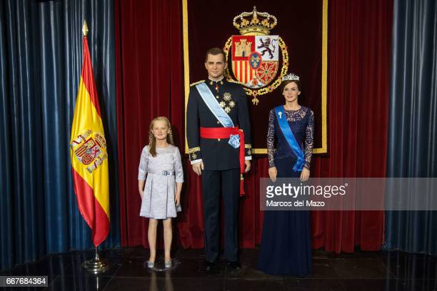 Royal family with new wax statue of Spanish Queen Letizia Ortiz in the Wax Museum