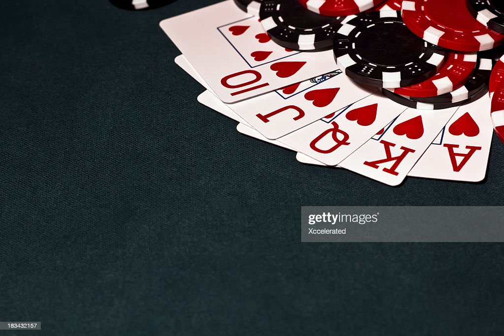 Royal Flush with Black and red Poker Chips : Stock Photo