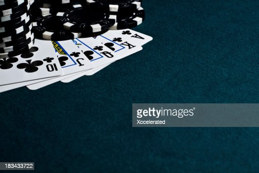 Royal Flush with Black Poker Chips