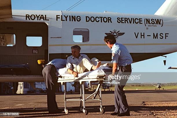 Royal Flying Doctor Service offloading patient Broken Hill far western New South Wales Australia
