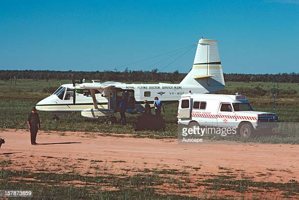 Royal Flying Doctor Service plane Nomad 228on station airstrip Ivanhoe New South Wales Australia