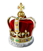 'Royal gold crown, with many jewels, decorations and ermine fur, isolated at white background. Clipping path included.'