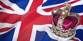 Royal golden crown with jewels on british  flag. Symbols of UK United Kingdom. 3d illustration