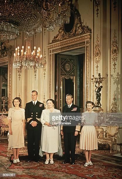 Royal group portrait Princess Elizabeth with her husband Prince Philip Queen Elizabeth King George VI and Princess Margaret