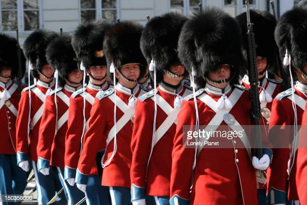 Royal guards marching to Amalienborg Slot on Queen Margrethe II's Birthday.