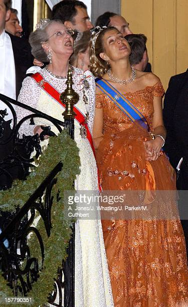 Royal Guests Watch The Fireworks At Stiftsgarden After Their Banquet Following The Wedding Of Princess Martha Louise Of Norway And Ari Behn Queen...