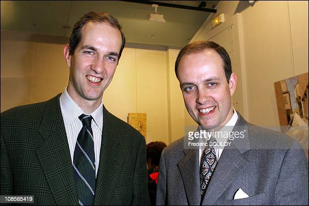 Royal Highness Prince Eudes of Orleans and Royal Highness Prince Jean of France at the opening of the 8th exhibition of work at the Mairie in Paris...