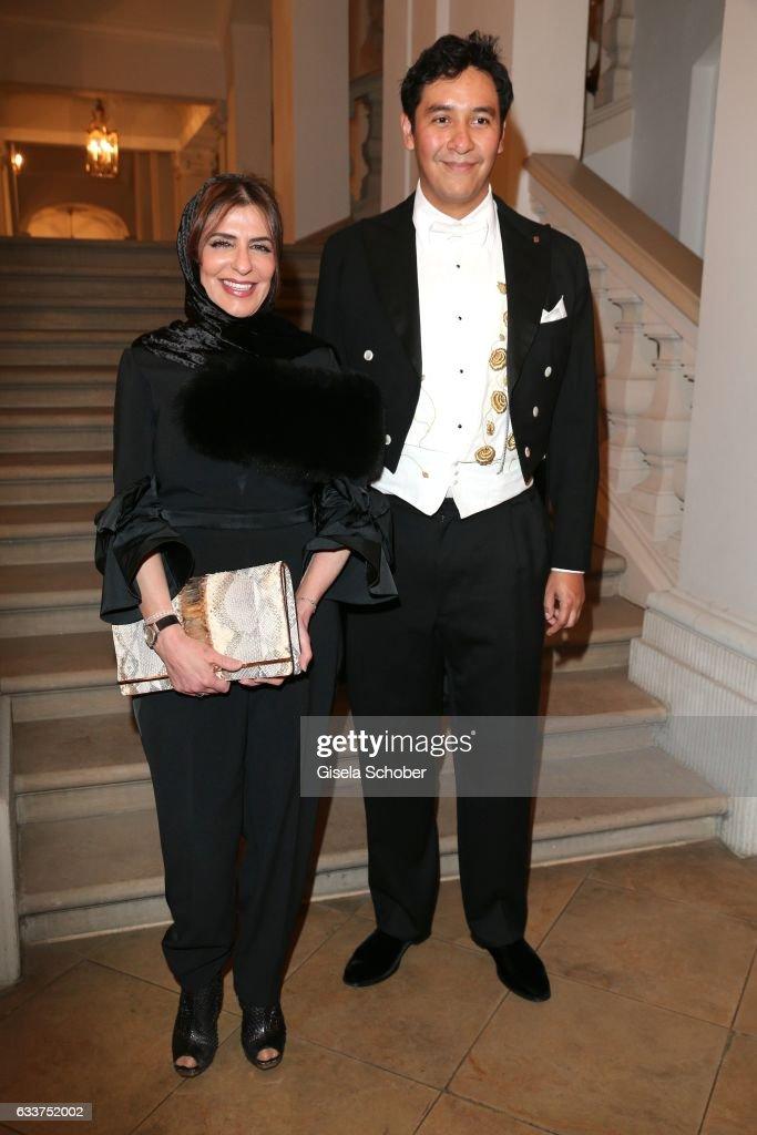 Royal Highness Princess Basmah bint Saud bin Abdulaziz Al Saud and Baron Henri Estramant during the Semper Opera Ball 2017 ( Semper Opernball ) reception at Hotel Taschenbergpalais Kempinski on February 3, 2017 in Dresden, Germany.