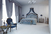Royal hotel room in classic style. 3D render