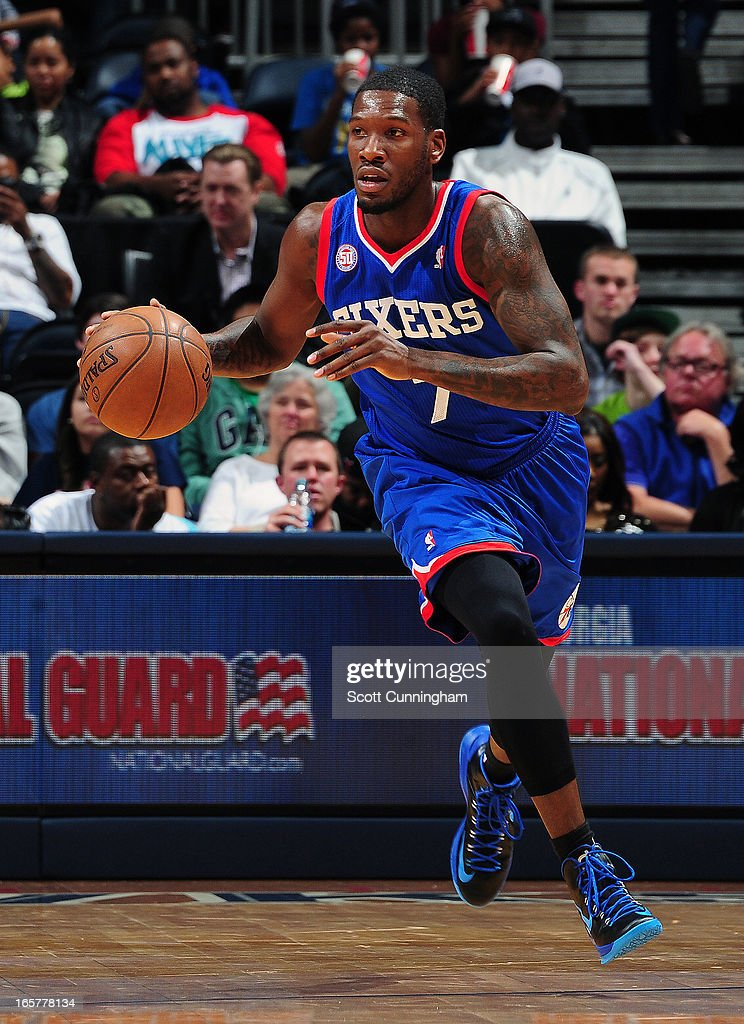 <a gi-track='captionPersonalityLinkClicked' href=/galleries/search?phrase=Royal+Ivey&family=editorial&specificpeople=209331 ng-click='$event.stopPropagation()'>Royal Ivey</a> #7 of the Philadelphia 76ers dribbles up the floor against the Atlanta Hawks on April 5, 2013 at Philips Arena in Atlanta, Georgia.