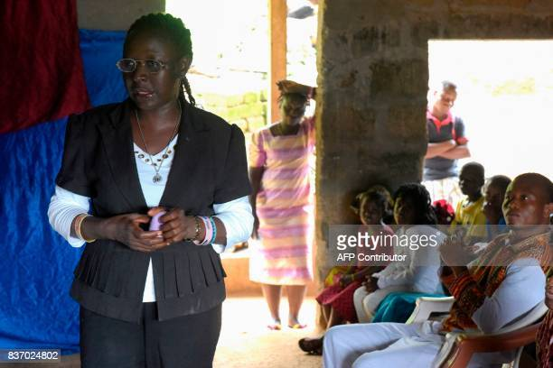 Royal Kings International school director AnnMarie Caulker attends a mass celebrated at the school in Freetown on August 20 2017 A week after Sierra...
