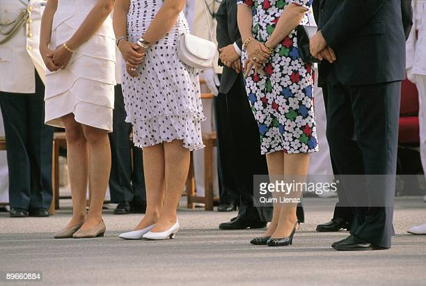 Royal legs The Infantas Elena and Cristina next to the queen Sofia and the defense minister Narcis Serra in the prince Felipe de Borbon´s appointed...