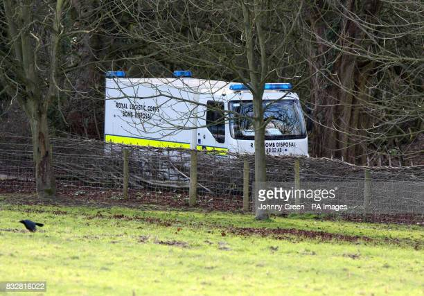A Royal Logistics Corps bomb disposal truck leaves the grounds of Templeton College in Kennington Oxfordshire after two incendiary devices were found...