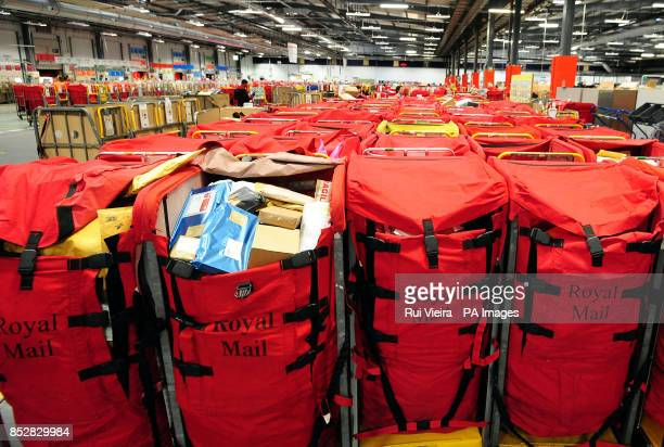 Royal Mail bags as the Christmas post is sorted at Nottingham Mail Centre Beeston Nottingham as staff work to ensure post arrives in time for...